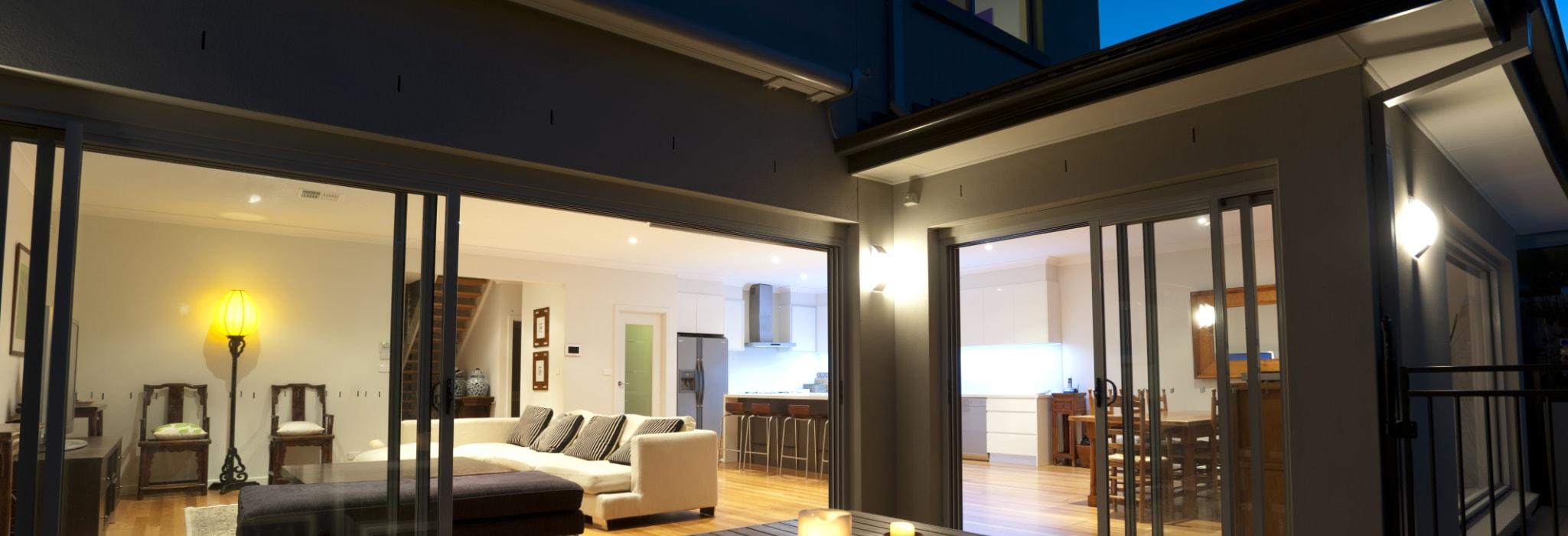 Indoor-outdoor living in the evening