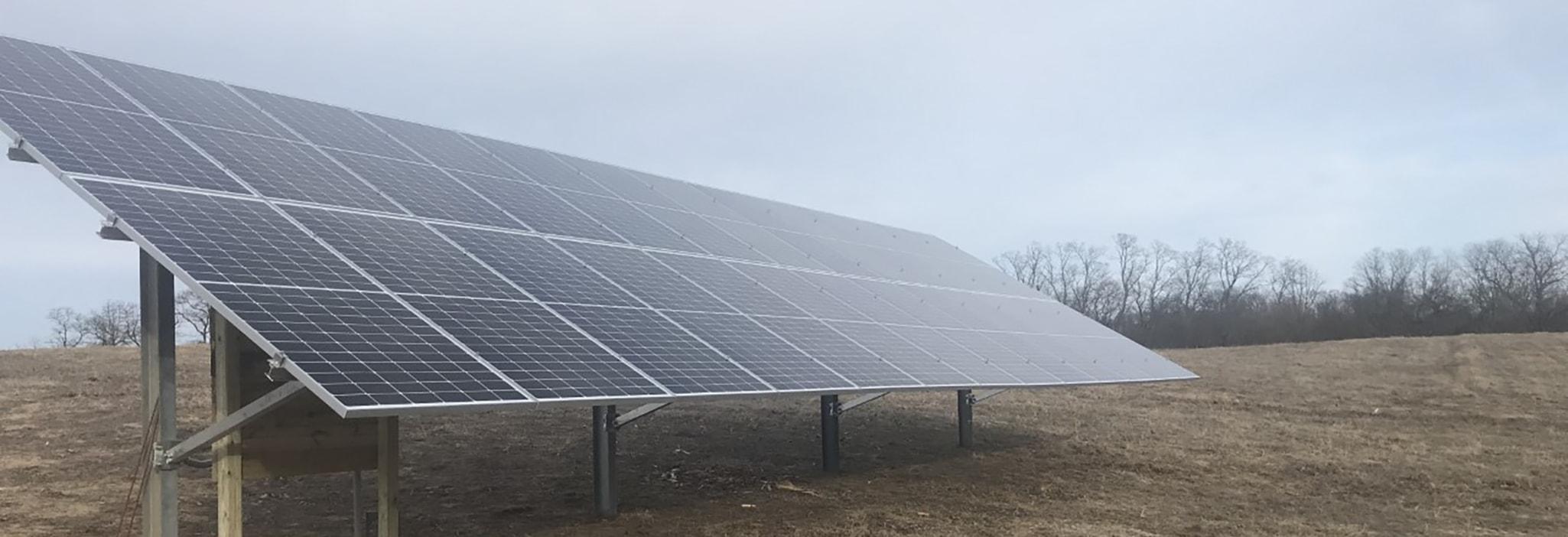 glass solar panels in an Illinois field